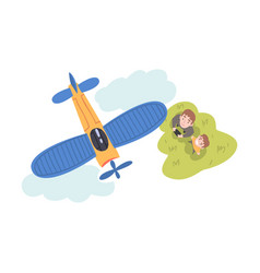 Dad and his son launching airplane model parent vector