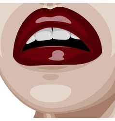 Dark red glossy Lips and white perfect Teeth vector image
