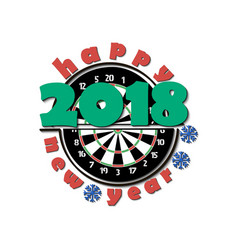 Darts board and new year 2018 vector