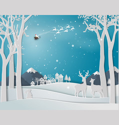 deer family in winter season with urban city vector image