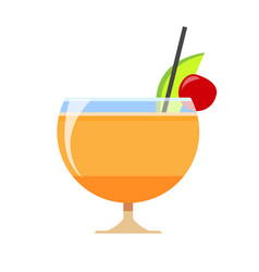delicious cocktail in a wide glass slice lime vector image