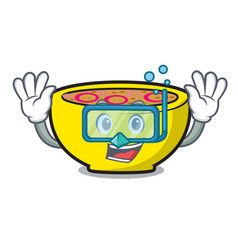 Diving soup union character cartoon vector