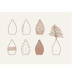 Doodle vases and flower design vector image