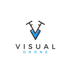 Drone logo aerial simple minimalist vector
