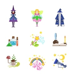 Fairytale Characters And Related To Them Objects vector