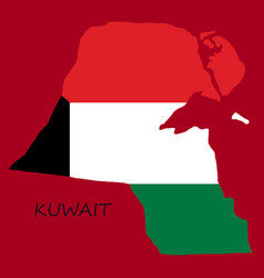Flag-map of kuwait vector