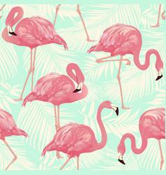 Flamingo bird and tropical palm vector