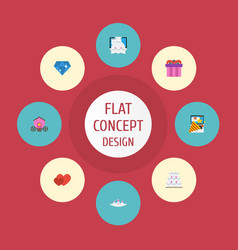 Flat icons accessories brilliant patisserie and vector