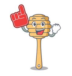foam finger honey spoon mascot cartoon vector image