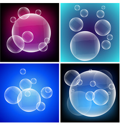 four different backgrounds with bubbles on vector image