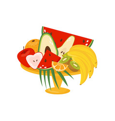 fresh ripe fruits in vase healthy lifestyle and vector image
