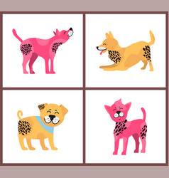 Friendly dogs with bright fur and black spots vector