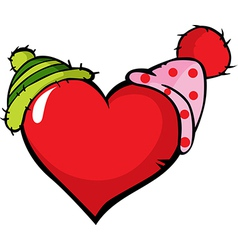 Funny heart with two cap vector