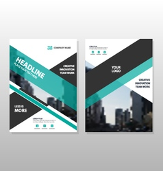 Green black annual report Brochure template set vector