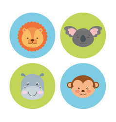group animal cute icon vector image
