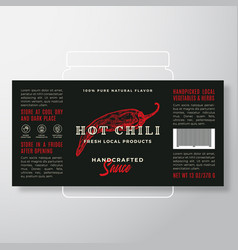 Handcrafted vegetables and herbs sauce label vector