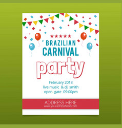 Happy brazilian carnival day white carnival party vector