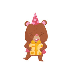 happy girl bear holding present in paws cute vector image