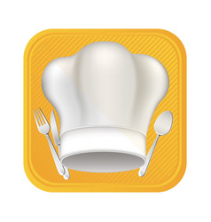 hat with cutlery tools icon vector image
