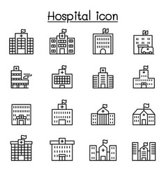 hospital icon set in thin line style vector image