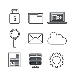 Icons set data center server silhouette isolated vector