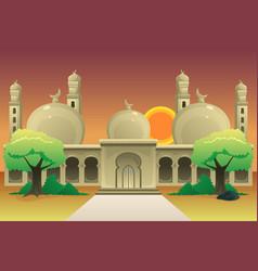 Islamic mosque at dusk vector