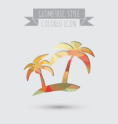 Island icons symbol of the island with palm trees vector