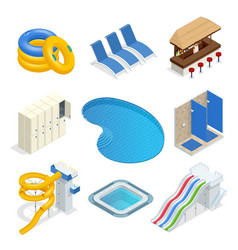 isometric water park attractions icon set vector image
