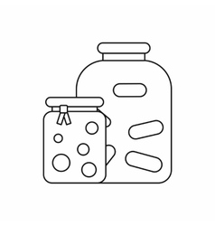 Jars with pickled vegetables and jam icon vector