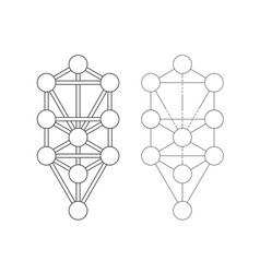 Kabbalah symbol sephirot and tree life sign vector