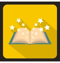 Magic book icon flat style vector