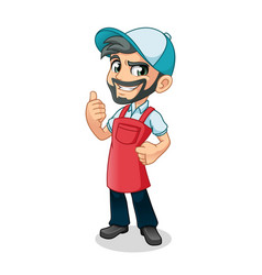 Man thumbs up with car wash apron vector