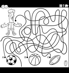 Maze game with boy and sport balls coloring page vector