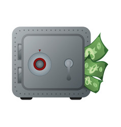 metal strong box with bills in the door vector image
