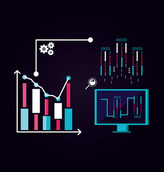 monitor computer with data center icons vector image