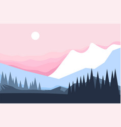 mountain and forest winter landscape pine trees vector image