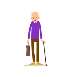 old man elderly man in pullover holds a briefcase vector image