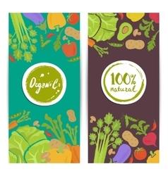 Organic food vertical flyers set vector