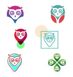 Owl pin navigator creative logo template vector