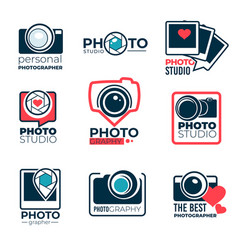 photo studio or photographer logotypes shoot vector image