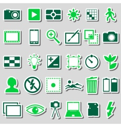 Photography and camera theme color simple icons vector