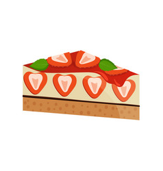 Piece of strawberry cake covered with sweet jam vector