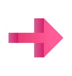Pink right arrow flat design long shadow color vector