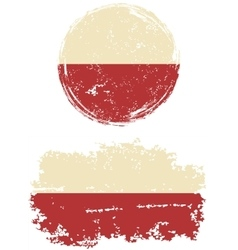 Polish round and square grunge flags vector