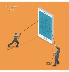 Protection threats isometric flat vetor concept vector