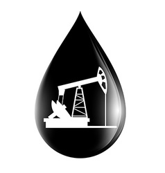 Pumpjack silhouette on a drop of oil vector