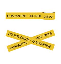 Quarantine tape do not cross isolated on white vector
