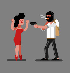 Robber rob a girl vector