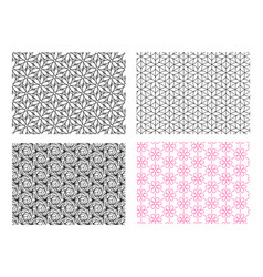 seamless flower pattern in linear style vector image