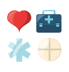 set heart with emblem and drug with briefcase vector image